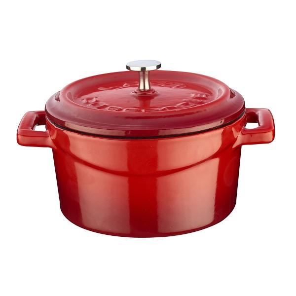 LAVA METAL Litinový mini hrnec kulatý 10 cm - červený/bílý
