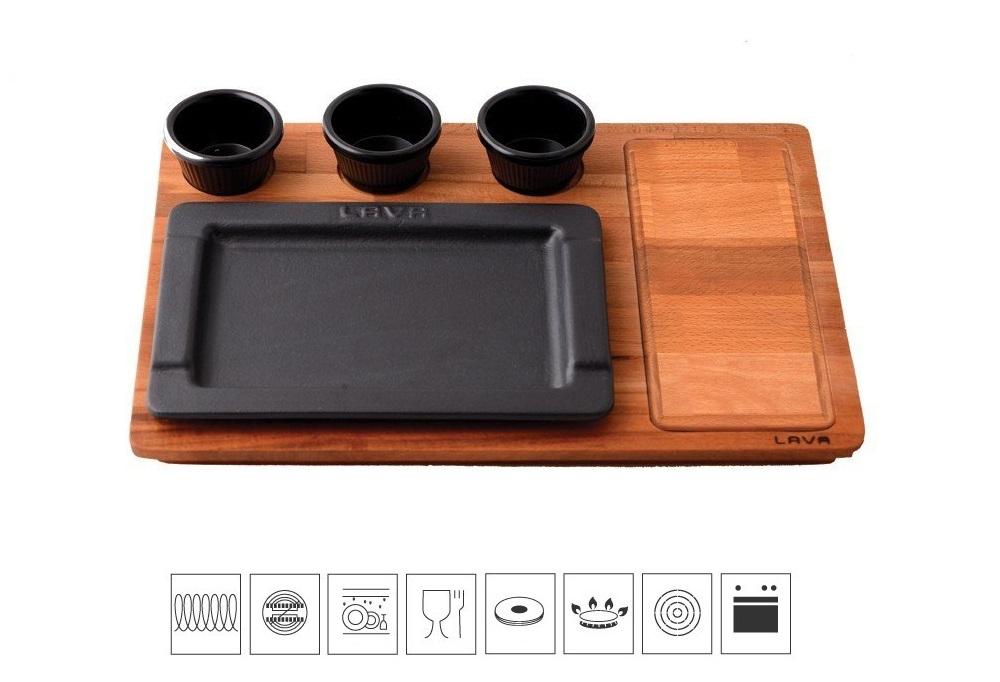 LAVA METAL Litinový servírovací talíř 25x17 cm s dřevěným podstavcem