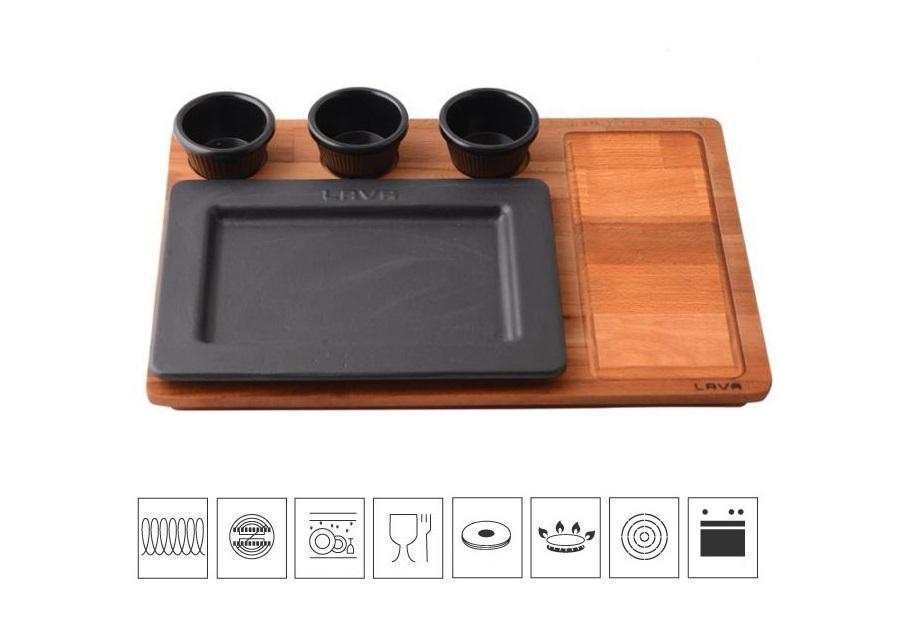 LAVA METAL Litinový servírovací talíř 25x18 cm s dřevěným podstavcem
