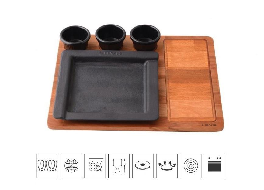LAVA METAL Litinový servírovací talíř 22x22 cm s dřevěným podstavcem