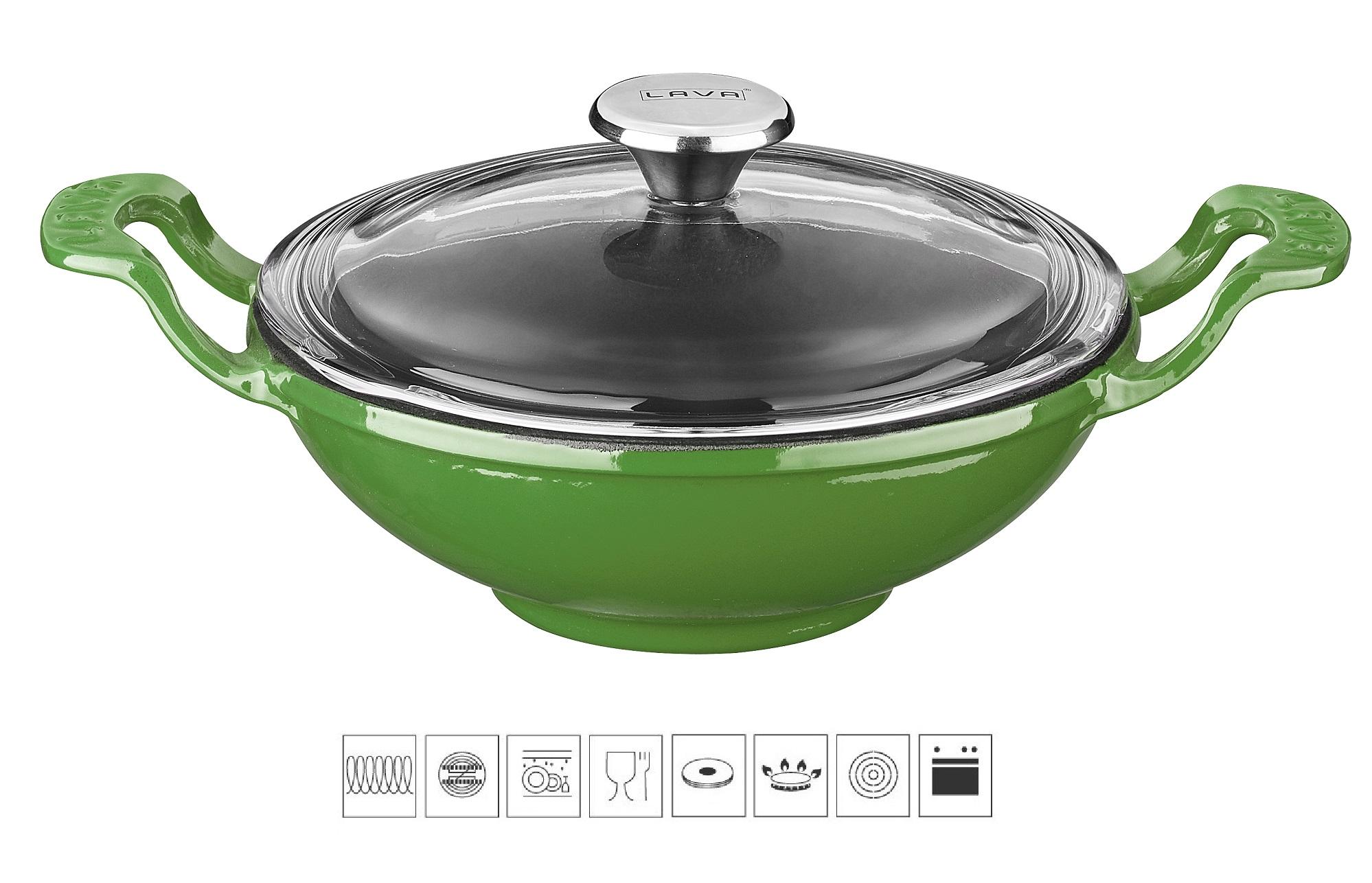 LAVA METAL Litinový wok 16 cm - zelený