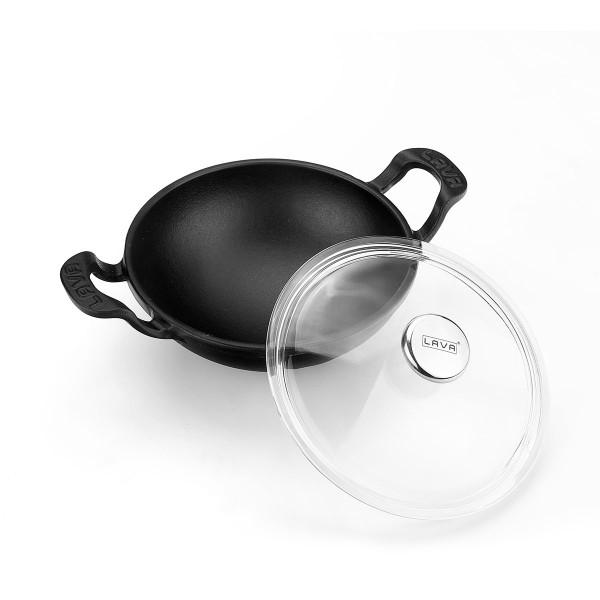 LAVA METAL Litinový wok 16 cm - černý matný