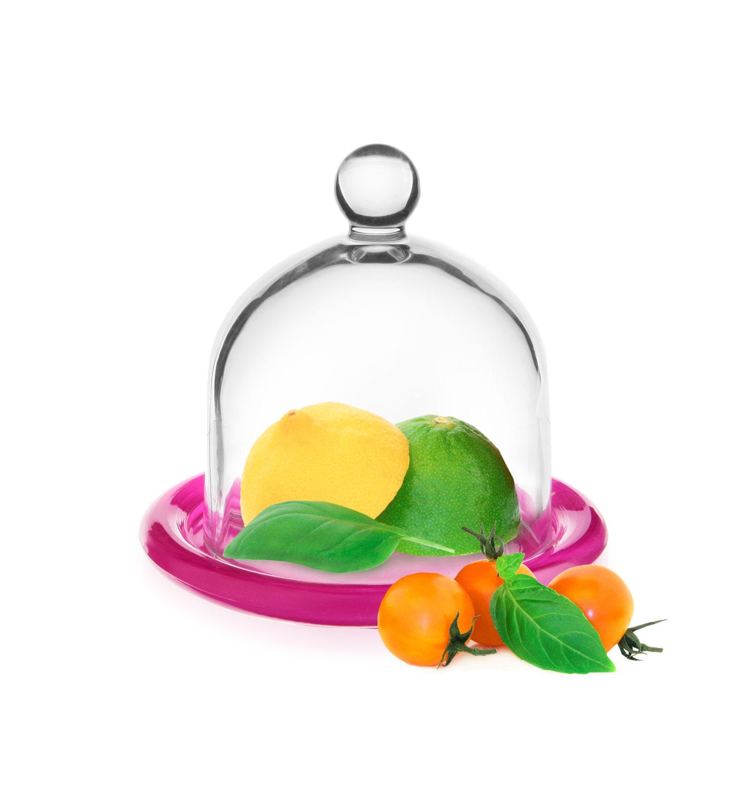 GLASMARK Dóza na citron s poklopem/růžový talířek