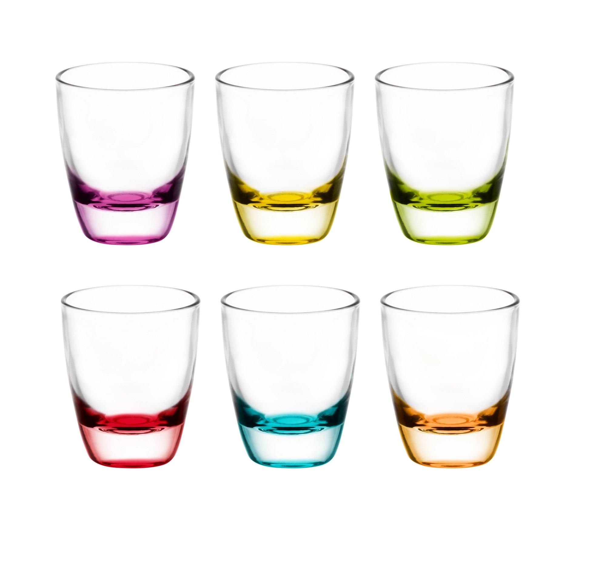 GLASMARK Sada 6 barevných panáků na vodku - 25ml