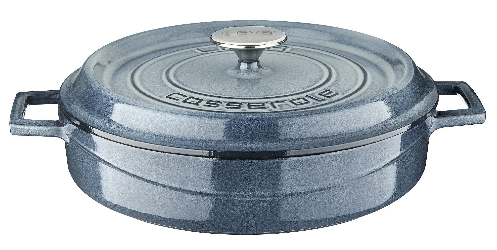 LAVA METAL Litinový hrnec nízký kulatý 28 cm - šedá majolika