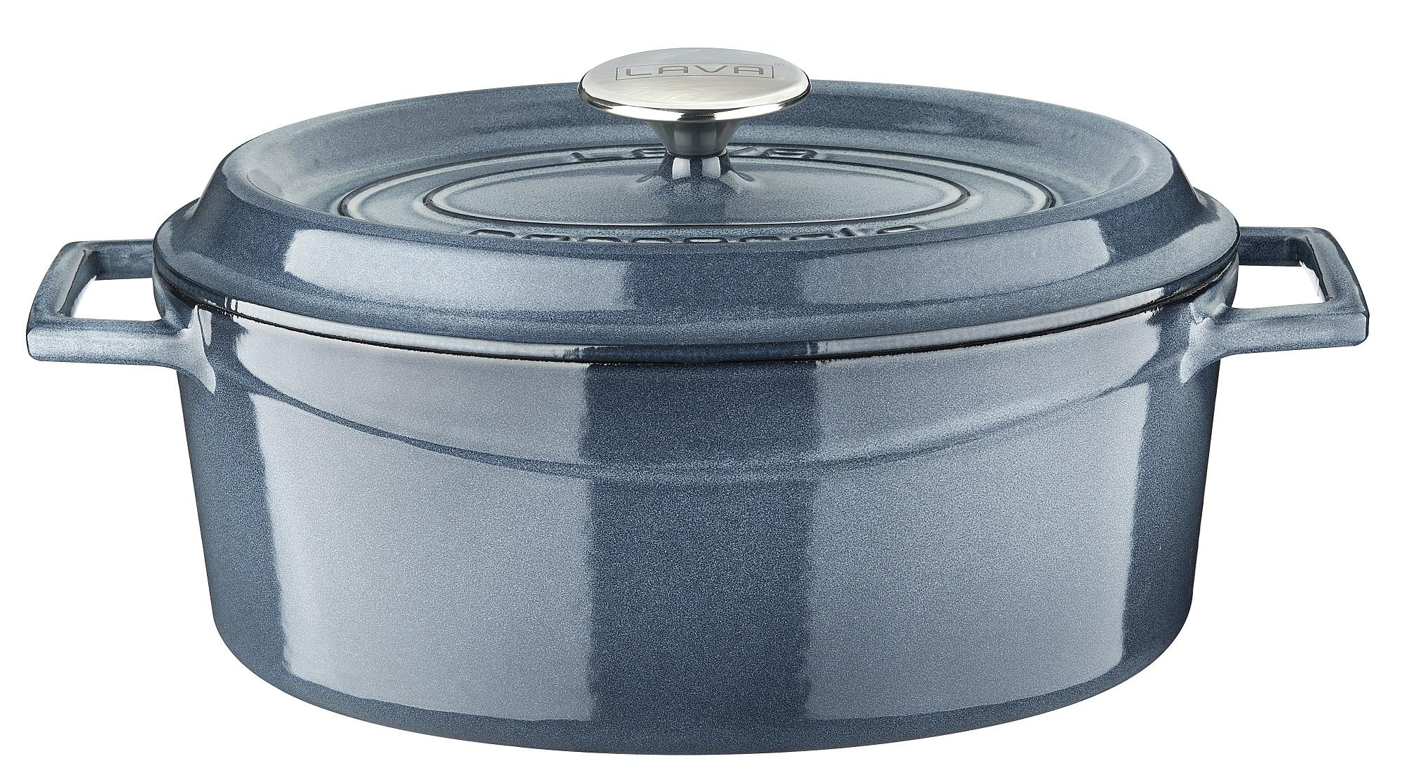 LAVA METAL Litinový hrnec oválný  29cm - šedá majolika