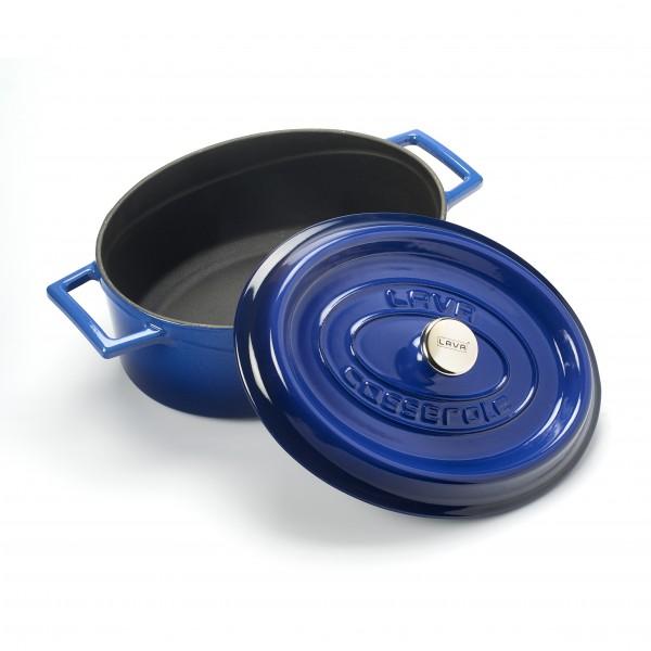 LAVA METAL Litinový hrnec oválný  29cm - modrý