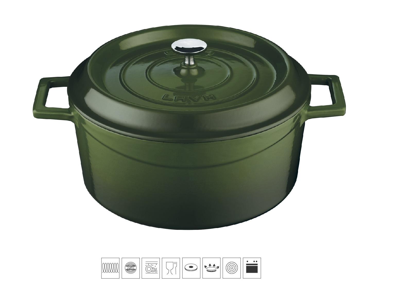 LAVA METAL Litinový hrnec kulatý 24cm - zelený