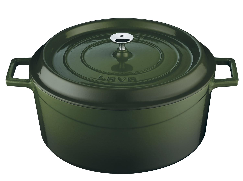 LAVA METAL Litinový hrnec kulatý 28 cm - zelený