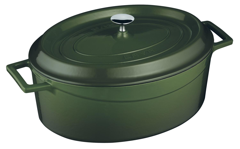 LAVA METAL Litinový hrnec oválný 29cm - zelený
