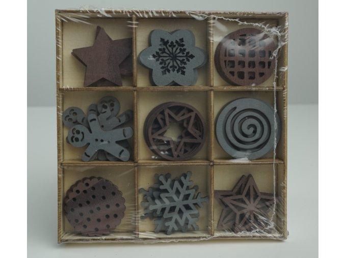 Krabička s dřevěnými ornamenty - více barev