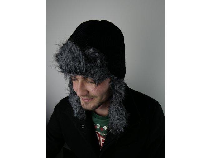 Pánská čepice s kožíškem - dvě barvy