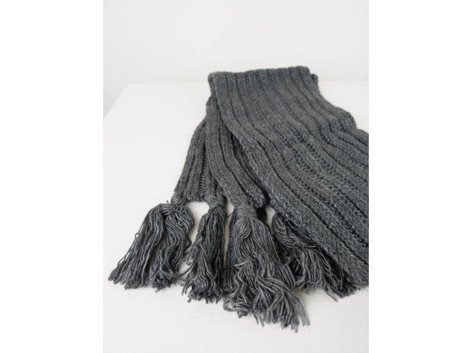 Šedá pletená šála