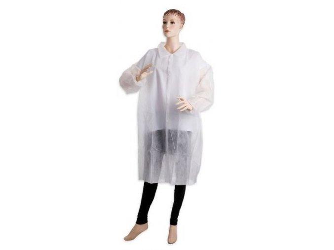 Jednorázový plášť s límečkem vel. L a XL - bílý 40 g/m2 (Velikost L)
