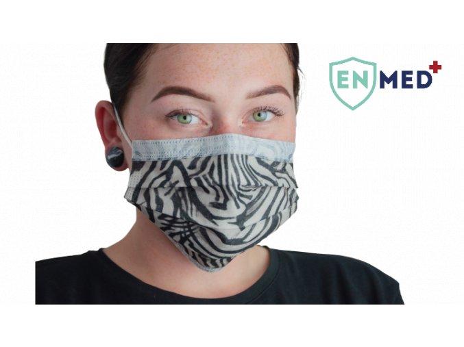 ENMED® Designová hygienická rouška 05 Zebra 10 ks