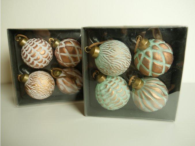 Vánoční bronzové baňky - 4 ks (dvě barevné provedení)