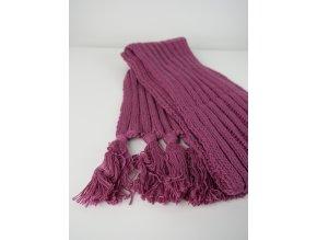 Růžová pletená šála
