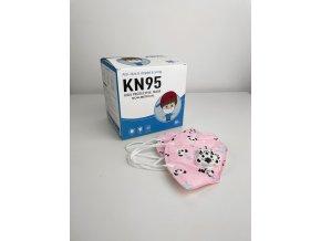 Dětské respirátory KN95 různé barvy - 10 ks (Typ Modrá s hříbky)