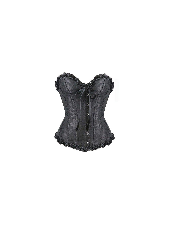 1cd5657ddca5 Černý brokátový korzet pro větší poprsí (postava 160-172 cm