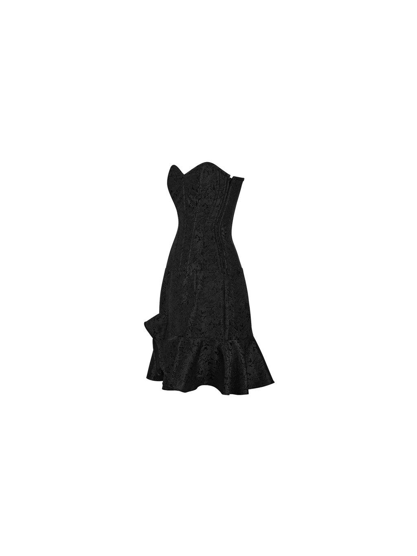 Červné korzetové šaty z brokátu od korzety cz bok