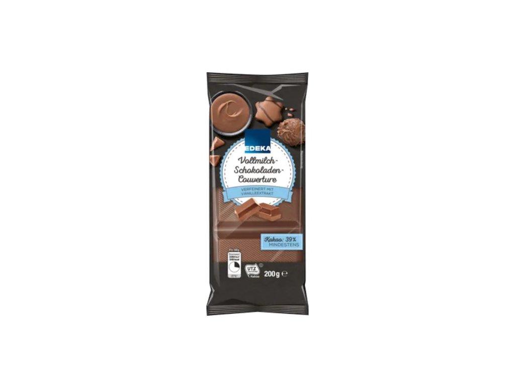 Mléčná couverture čokoláda na pečení a zdobení  EDEKA, 200 g