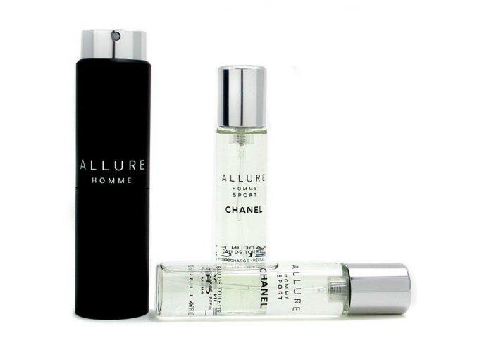 Chanel Allure Homme Sport toaletní voda pánská 60 ml  3x20 plnitelný komplet twist set + vzorek CHANEL k objednávce zdarma