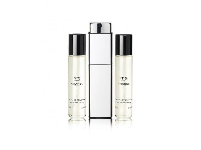 Chanel No.5 L´Eau toaletní voda dámská 60 ml  3 x 20 ml plnitelný komplet + vzorek CHANEL k objednávce zdarma.