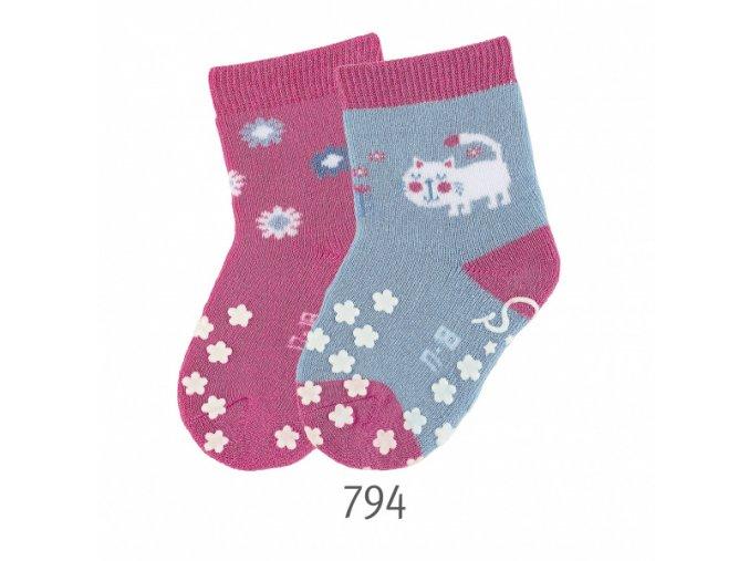 Ponožky Sterntaler protiskluzové 2 páry Kočička