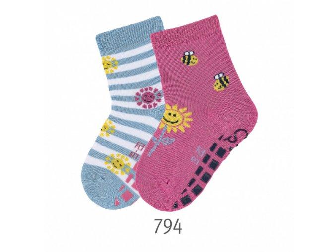 Ponožky Sterntaler protiskluzové 2 páry Včelka