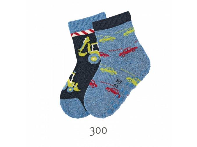 Ponožky Sterntaler protiskluzové 2 páry Bagr+autíčka navy