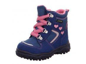 Zimní obuv Superfit Husky blue/rosa tkaničky