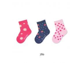 Ponožky Sterntaler 3 páry Kytičky 8322125