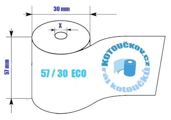 Rozměry termo kotoučku bez dutinky 57/30 ECL