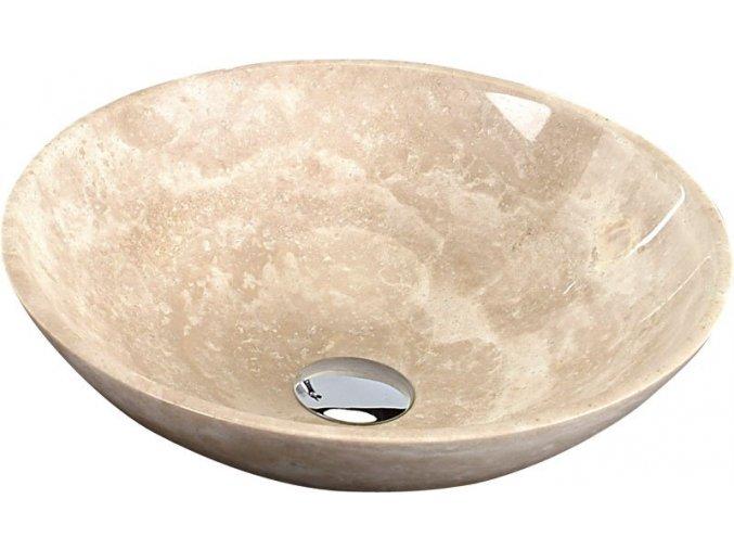 SAPHO, BLOK 1 kamenné umyvadlo průměr 40cm, leštěný béžový travertin, 2401-01-XXX, výprodej skladu