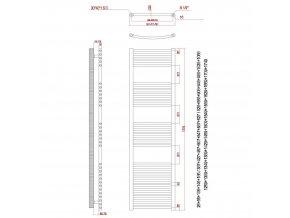 Topný žebřík 1775x400mm bílý rovný
