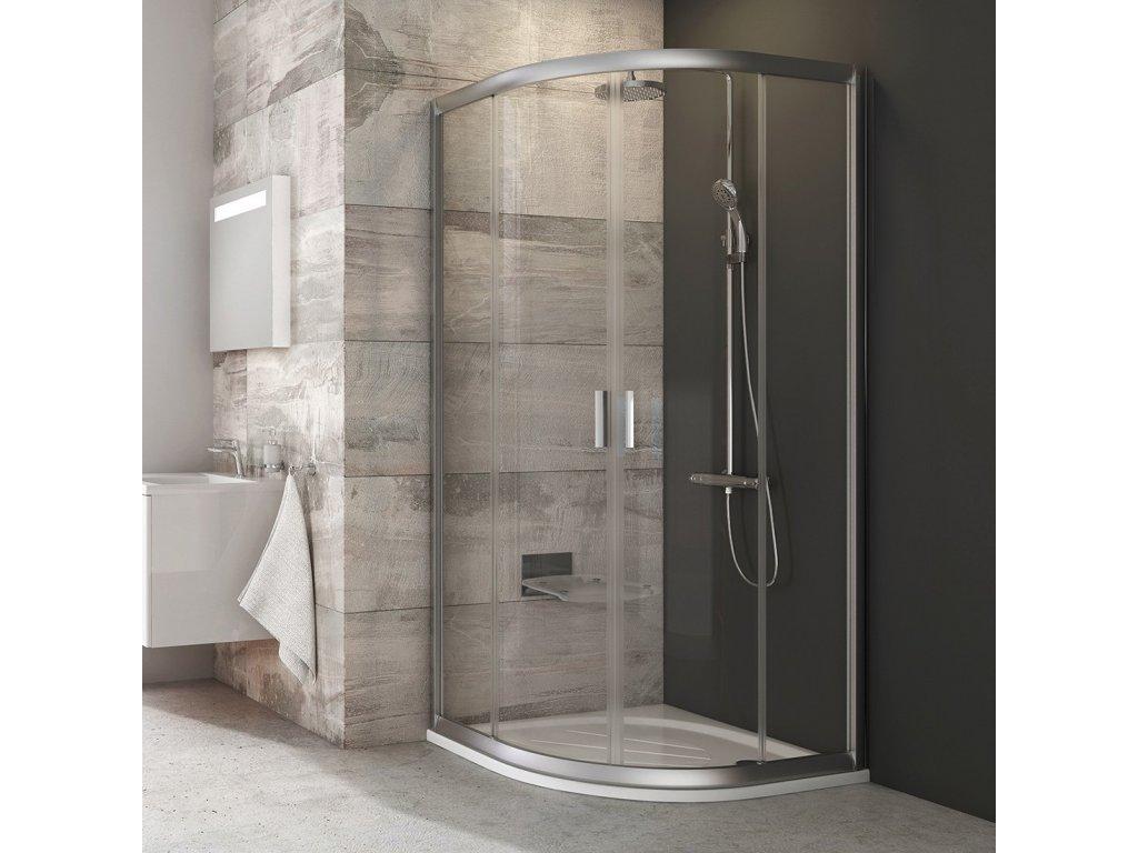 Ravak BLCP4 - 90 x 90 x 190 cm sprchový kout čtvrtkruhový Transparent + Satin