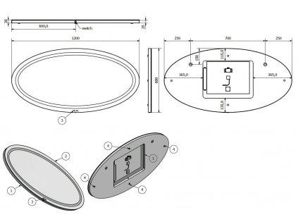 Hopa BEČVA 80 × 60 cm ZRBECV8060 zrcadlo s LED osvětlením