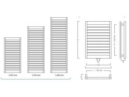 Hopa Modo 400 x 1375 mm koupelnový radiátor / žebřík