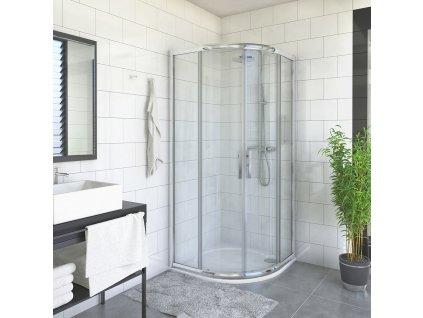 Roth PXR2N/900 čtvrtkruhový sprchový kout 90 x 90 x 200 cm 532-900R55N-00-02 brillant / transparent