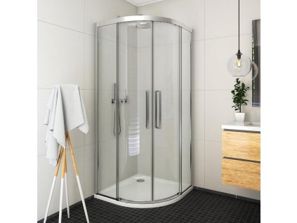 Roth ECR2N/1000 čtvrtkruhový sprchový kout 100 x 100 x 205 cm 561-1000000-00-02 brillant / transparent