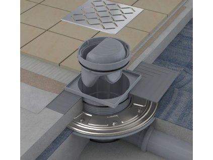 Ravak SN501 105 x 105 mm podlahová vpusť plastová s nerezovou mřížkou X01435