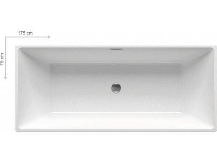 Ravak Freedom R 175 x 75 cm vana volně stojící akrylátová