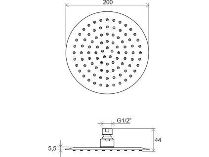 Ravak Chrome 984.01 hlavová sprcha Slim kulatá o 200 mm