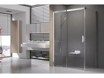 Ravak MSDPS L - 110 x 80 cm sprchové dveře spevnou stěnou sklo levé