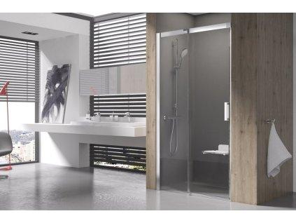 Ravak MSD2 L - 110 x 195 cm sprchové dveře do niky dvoudílné sklo levé