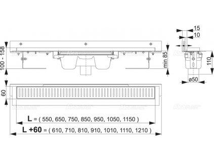 APZ1004-550 Flexible podlahový žlab s nastavitelným límcem - svislý odtok