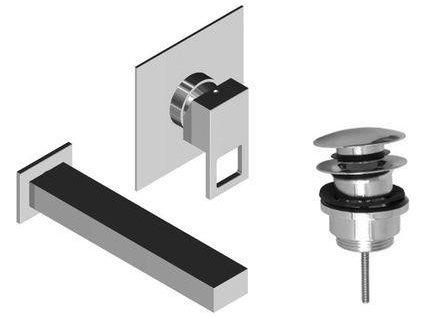 Raf Note NO20 umyvadlová podomítková baterie s výtokovým ústím 17,5 cm a výpustí click clack, 2 části