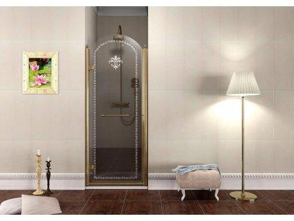 Gelco Antique GQ1290LC sprchové dveře otočné 90 x 190 cm bronz levé
