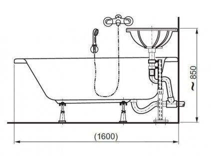 Vagnerplast Kasandra BJ 160 x 70 cm vana pravá s otvorem pro otočné umyvadlo  + Nohy k vaně ZDARMA