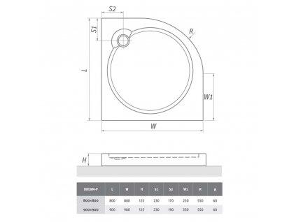Project Line DREAM-P 800 čtvrtkruhová sprchová vanička 80 x 80 cm 8000099 akrylátová